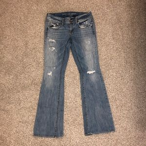 American Eagle Bell Bottom Ripped Jeans